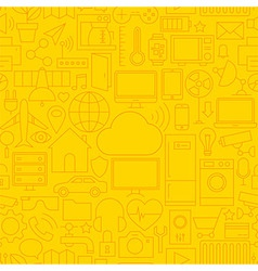 Thin Line Internet of Things Seamless Yellow vector