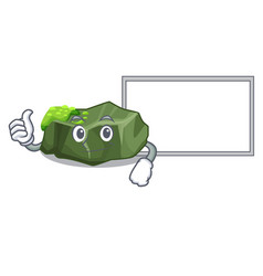 thumbs up with board cartoon green rock sample of vector image