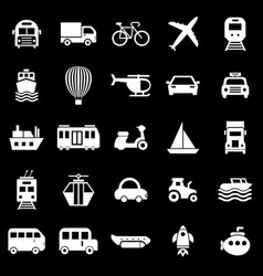 transportation icons on black background vector image