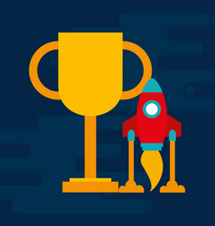trophy award cup with startup rocket vector image
