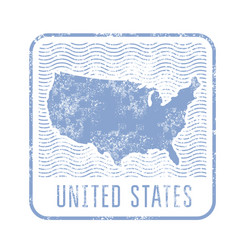 usa travel stamp with silhouette of map of united vector image