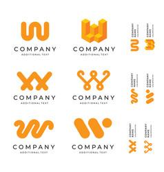 W letter logos set pack modern identity brand vector
