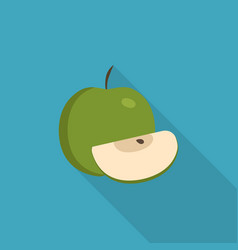 Whole and slice green apples icon in flat long vector