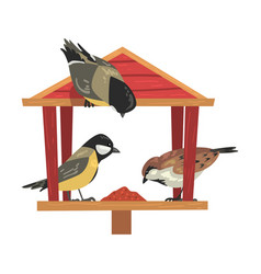 Winter bird feeder with titmouses and sparrows vector