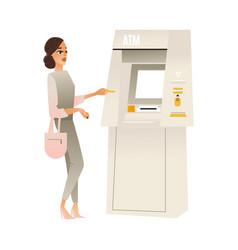 Woman at atm bank terminal vector