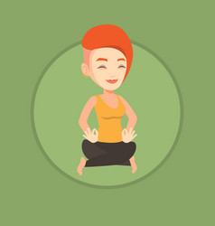 woman meditating in yoga lotus pose vector image