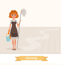 Woman standing on shiny floor and holding mop and vector