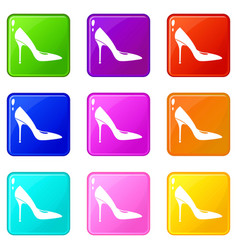 Women shoe with high heels icons 9 set vector