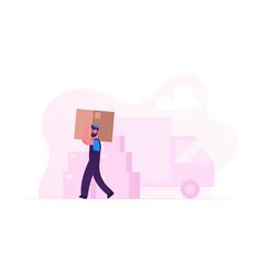 worker wearing uniform carry big cardboard box on vector image