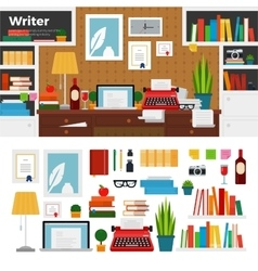 Writer cabinet interior with books vector