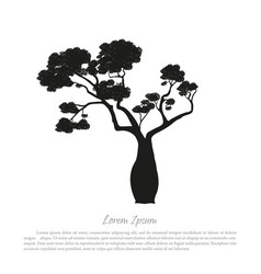 black silhouette of a baobab on a white background vector image vector image