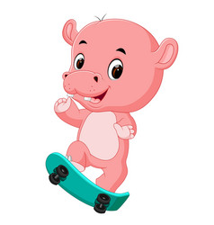 cute hippo playing skateboard vector image