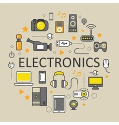 Electronics Technology Line Art Thin Icons Set vector image