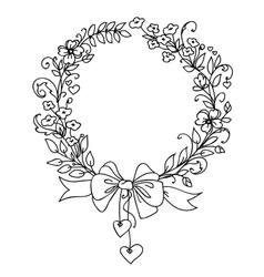 Floral vintage hand drawn wreath vector