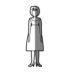silhouette shading body faceless woman with vector image