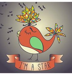 Sing bird ribbon and slogan vector