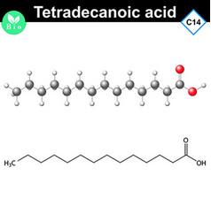 Tetradecanoic acid molecule myristic acid vector image vector image