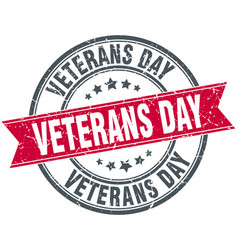 veterans day round grunge ribbon stamp vector image