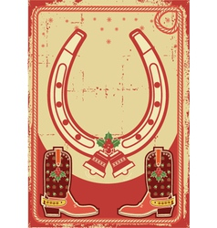 christmas card background with lucky horseshoe and vector image vector image