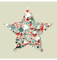 Christmas icons star shape vector image