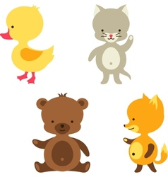 Little cute baby cat bear fox and duck vector