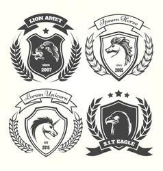 medieval heraldry coat of arm set vector image