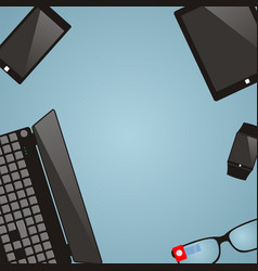 work place with multimedia devices laptop smart vector image vector image