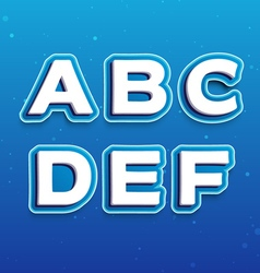 3d font in cartoon style with letters from a to f vector