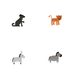 Flat icons jackass hound horse and other vector