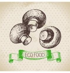 Hand drawn sketch mushrooms vegetable Eco food vector image vector image