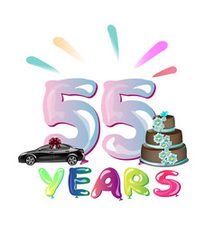happy birthday fifty five 55 year vector image