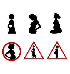 six icons of pregnant women vector image