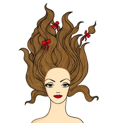 Beautiful long-haired girl vector image