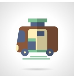 Camping trailer flat color design icon vector image vector image