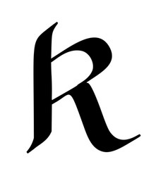 Letter r painted brush vector
