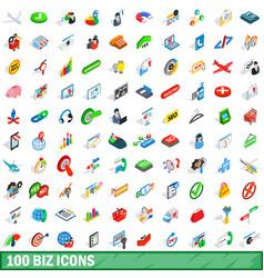 100 biz icons set isometric 3d style vector image