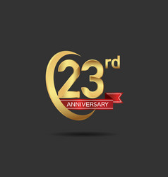 23 years anniversary logo style with swoosh ring vector