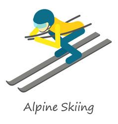 alpine skiing icon isometric style vector image