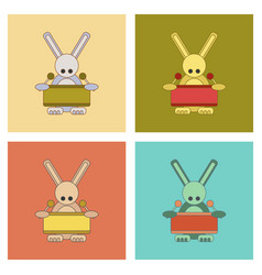 Assembly flat icons kids toy rabbit drummer vector