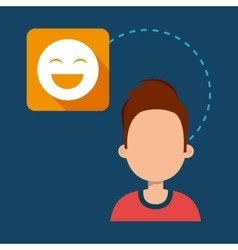 Avatar man with happy emoticon face icon vector