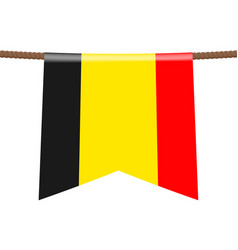 Belgium national flags hangs on the rope vector