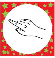 black lines of hand gesture pointing vector image
