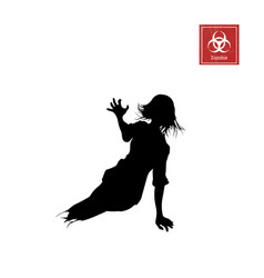 Black silhouette women zombie without legs vector