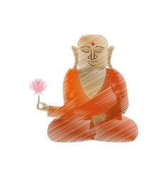 Buddha colored hand draw sitting with lotus flower vector