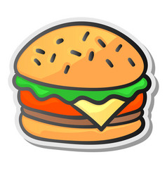 burger sticker isolated background vector image