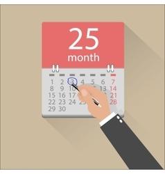 Businessman hands mark on the calendar vector