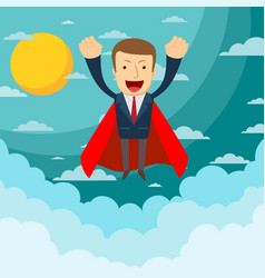 businessman superhero flies up and leaves a cloud vector image