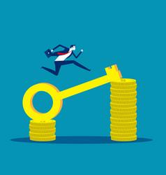 Businessmen earn more money investment key vector
