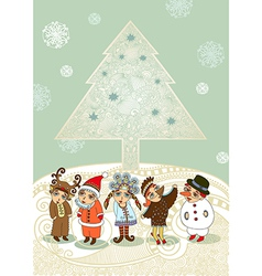 Children in fancy dress Christmas Card vector