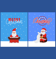 christmas card with santa hold xmas wish list vector image